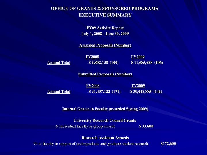 OFFICE OF GRANTS & SPONSORED PROGRAMS