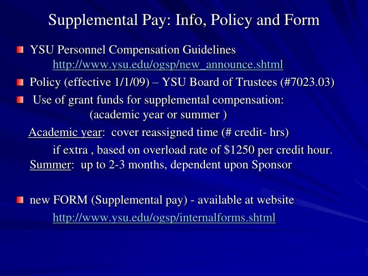 Supplemental Pay: Info, Policy and Form
