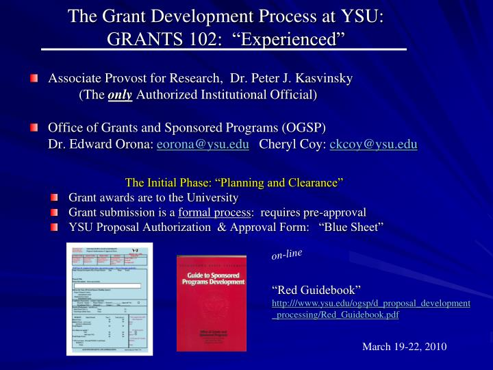 The grant development process at ysu grants 102 experienced
