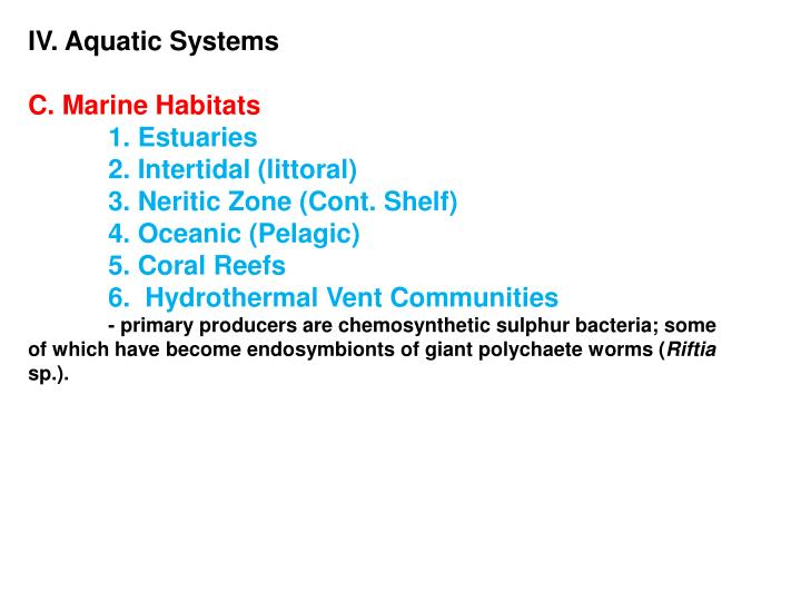 IV. Aquatic Systems