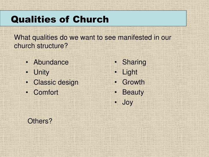 Qualities of Church