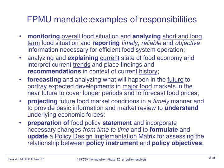 FPMU mandate:examples of responsibilities