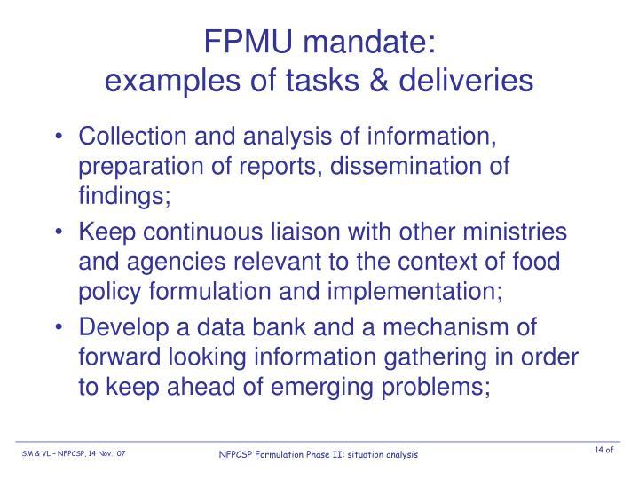 FPMU mandate: