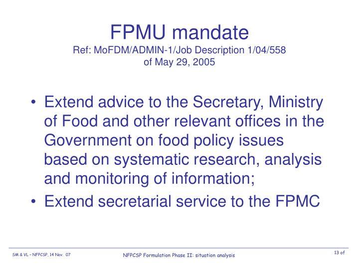 FPMU mandate