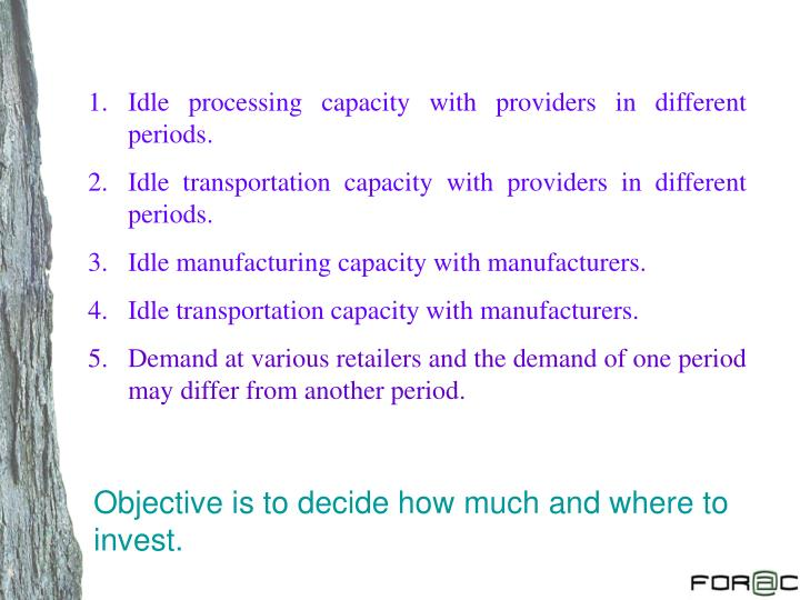 Idle processing capacity with providers in different periods.