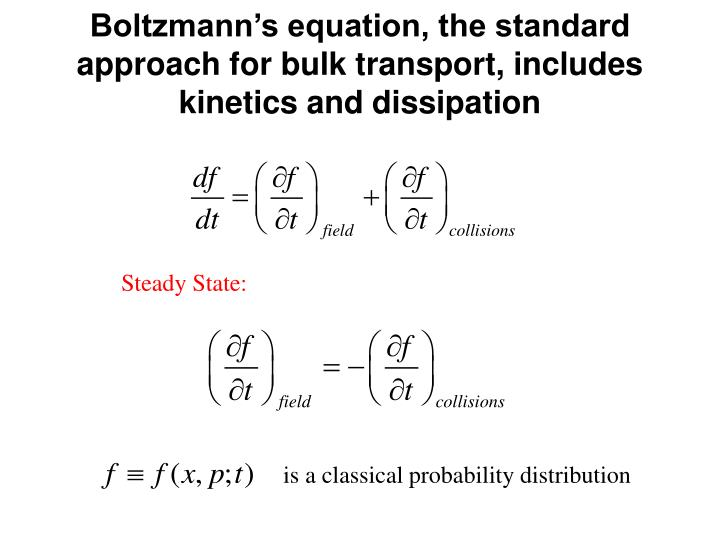 Boltzmann's equation, the standard approach for bulk transport, includes kinetics and dissipation
