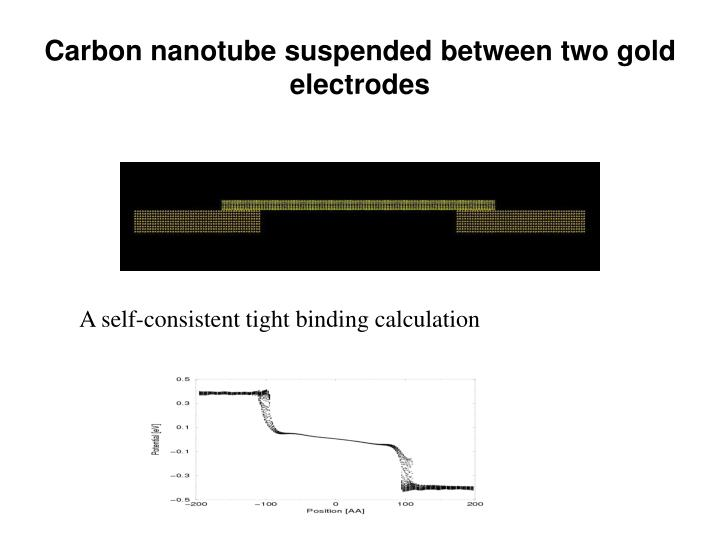Carbon nanotube suspended between two gold electrodes