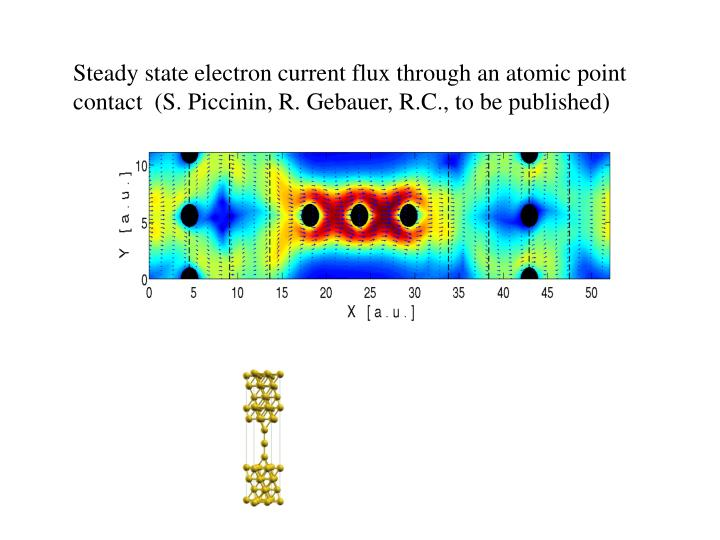 Steady state electron current flux through an atomic point contact  (S. Piccinin, R. Gebauer, R.C., to be published)