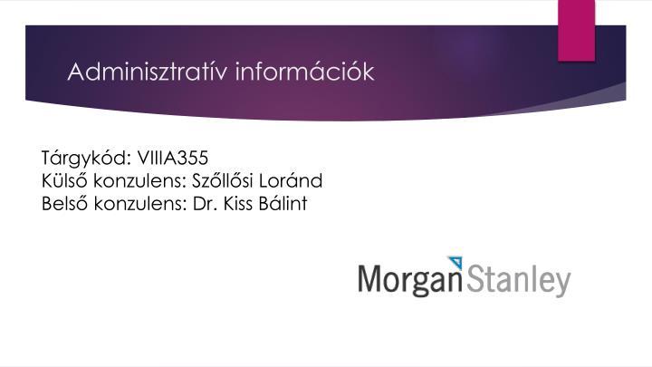 Adminisztratív információk