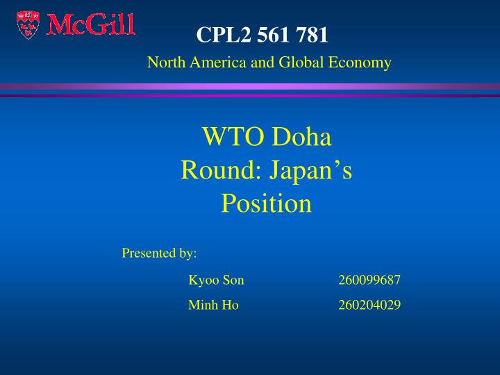 Wto doha round japan s position