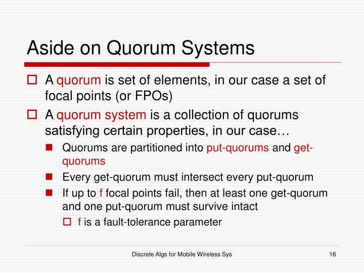 Aside on Quorum Systems