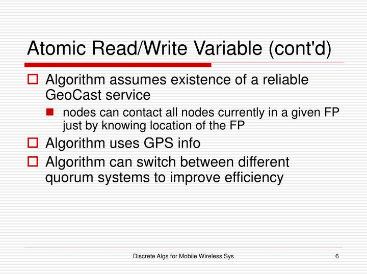 Atomic Read/Write Variable (cont'd)