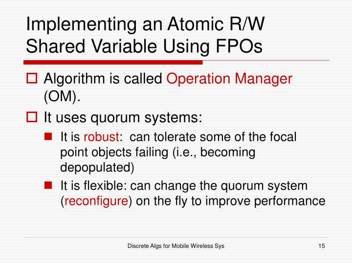 Implementing an Atomic R/W Shared Variable Using FPOs