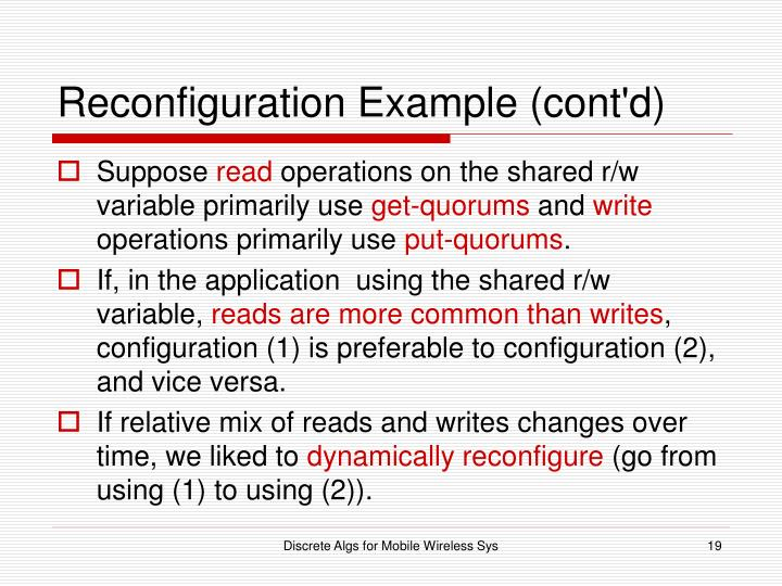 Reconfiguration Example (cont'd)