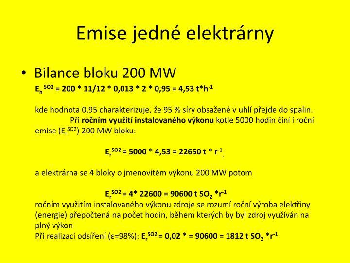 Emise jedné elektrárny