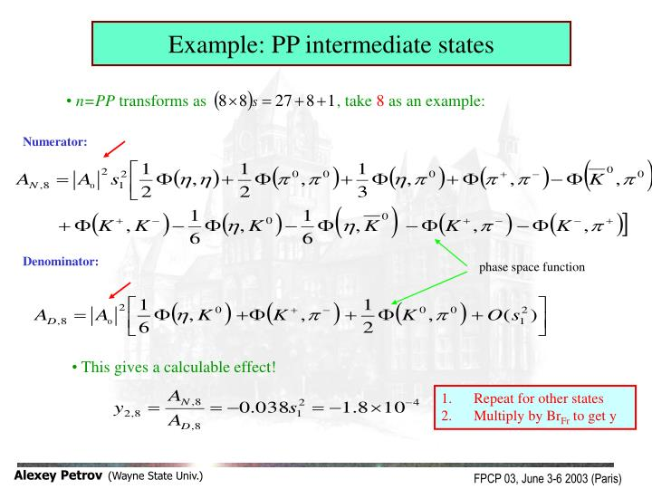 Example: PP intermediate states