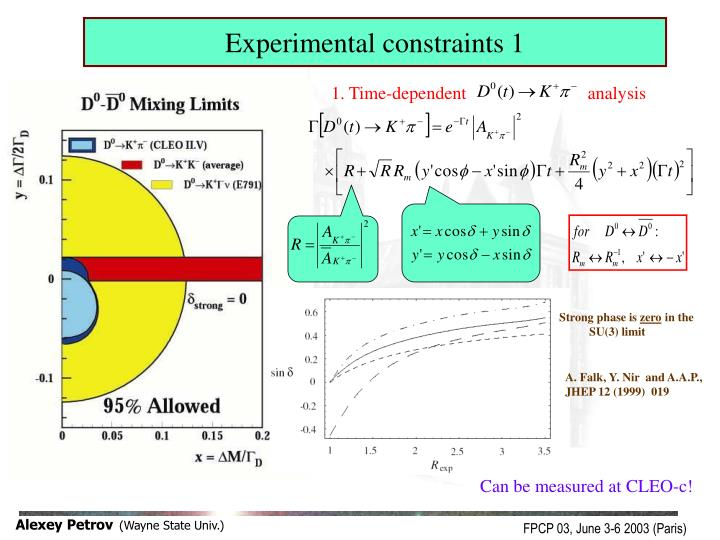 Experimental constraints 1