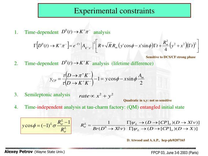 Experimental constraints