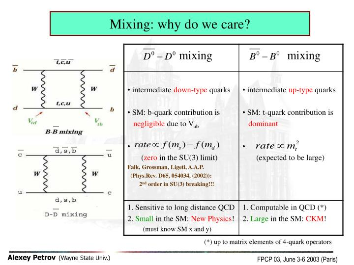 Mixing: why do we care?