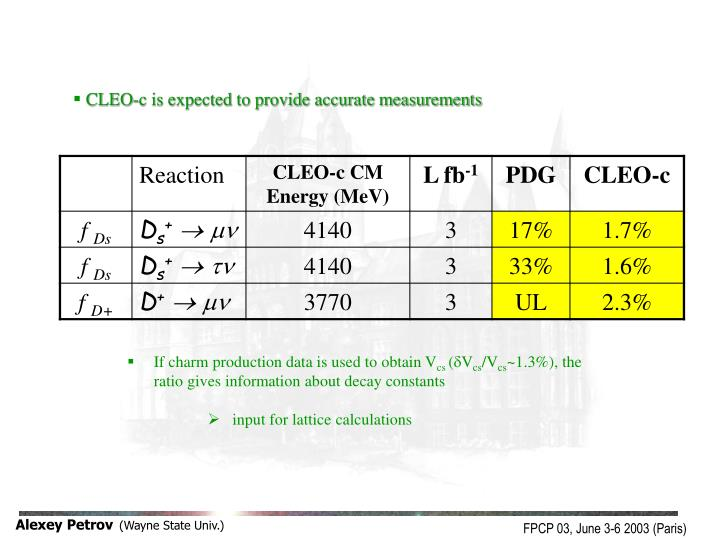 CLEO-c is expected to provide accurate measurements