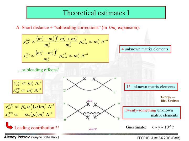 Theoretical estimates I