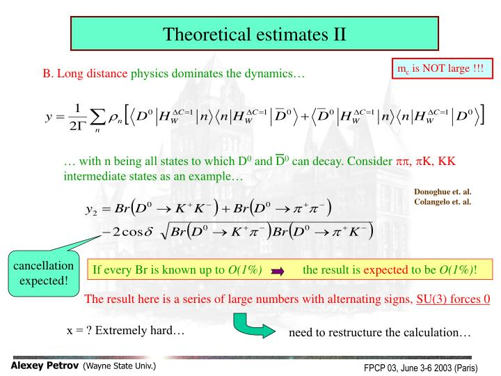 Theoretical estimates II