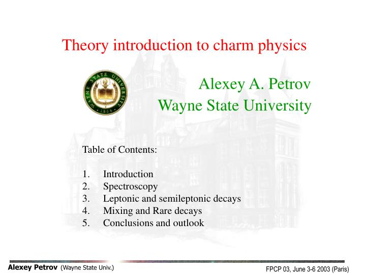 Theory introduction to charm physics