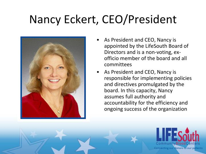Nancy Eckert, CEO/President