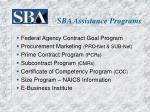 sba assistance programs
