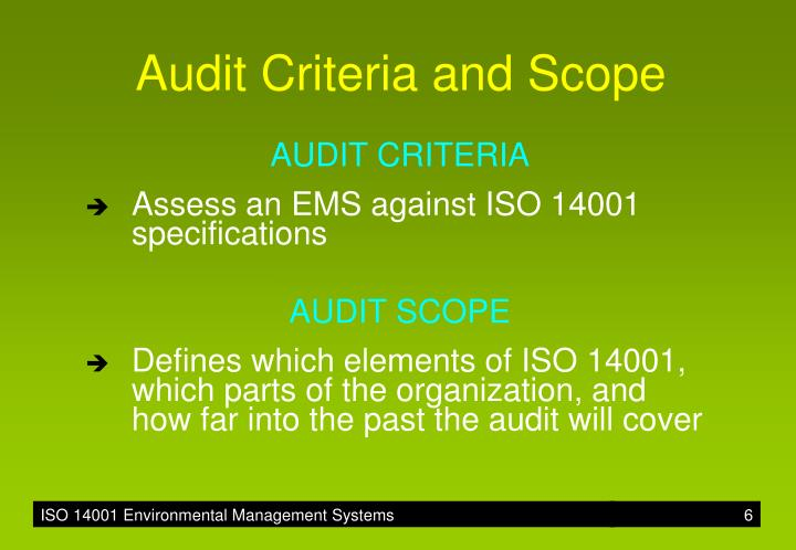 Audit Criteria and Scope