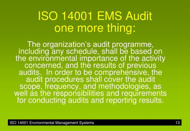 ISO 14001 EMS Audit