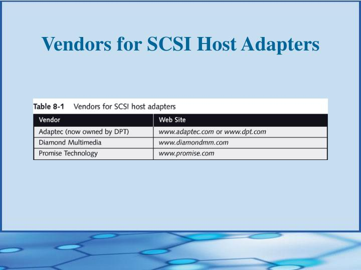 Vendors for SCSI Host Adapters