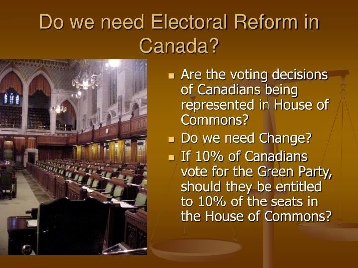 reforming the canadian electoral system essay Since confederation, reforms to the federal and provincial electoral systems have been considered and in some cases implemented at present, all provinces and territories employ the fptp system.