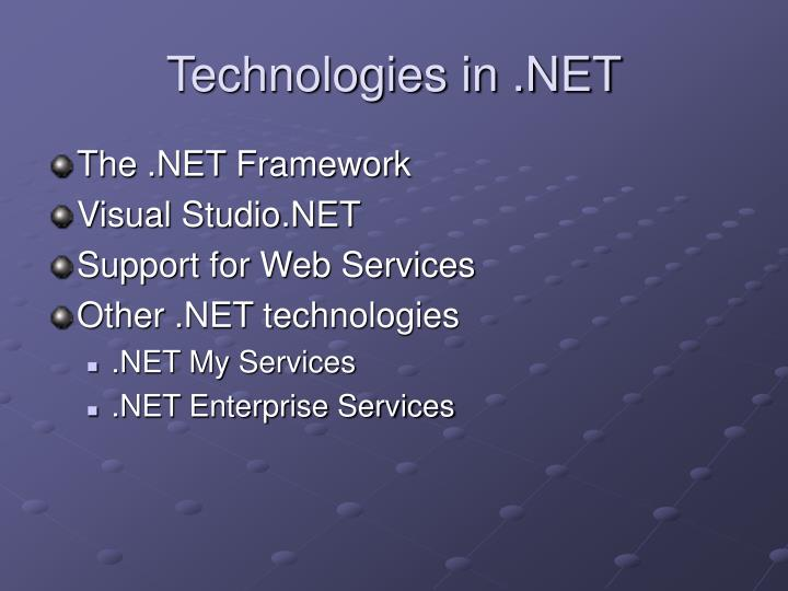 Technologies in .NET