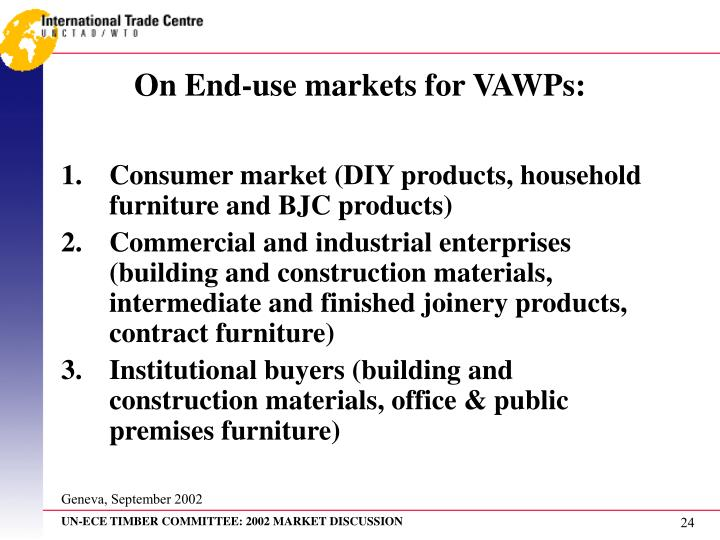 On End-use markets for VAWPs: