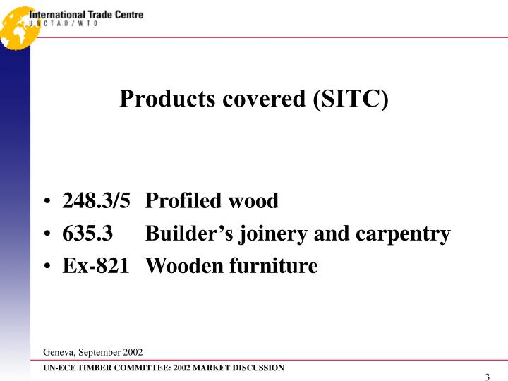 Products covered (SITC)