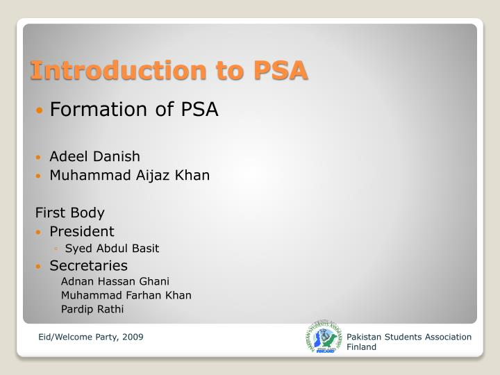 Introduction to psa