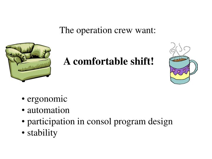 The operation crew want: