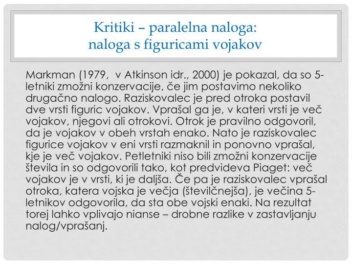 Kritiki – paralelna naloga: