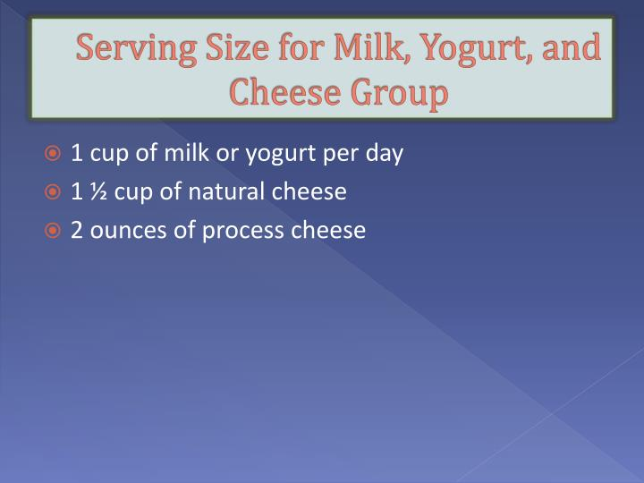 Serving Size for Milk, Yogurt, and Cheese Group