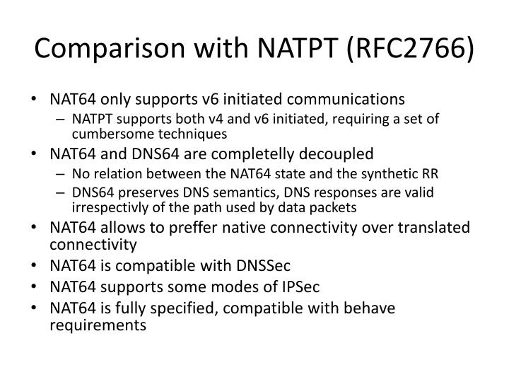 Comparison with NATPT (RFC2766)
