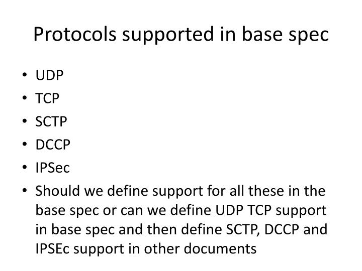 Protocols supported in base spec