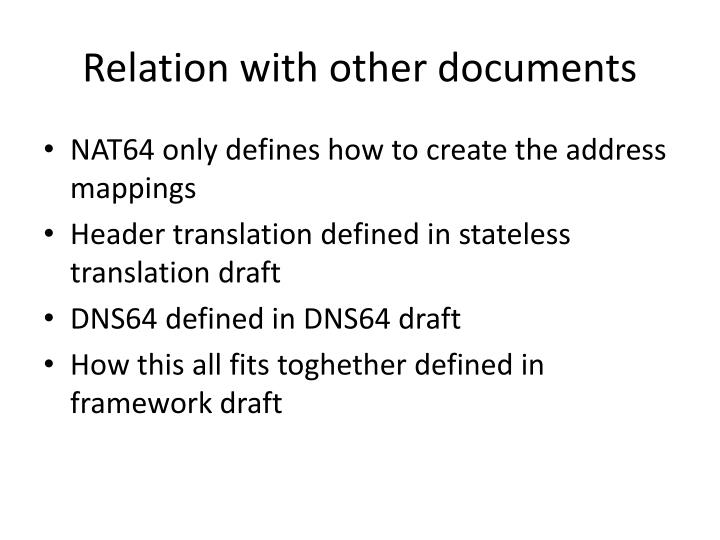 Relation with other documents