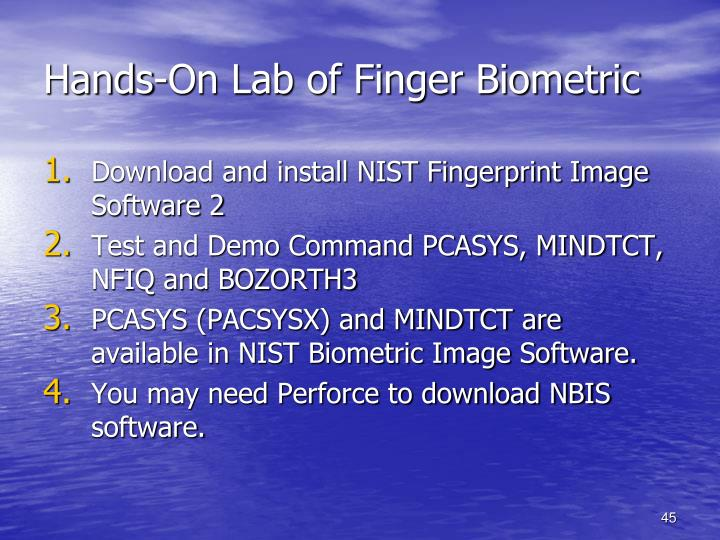 Hands-On Lab of Finger Biometric