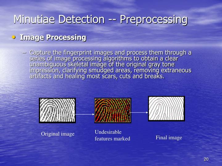 Minutiae Detection -- Preprocessing