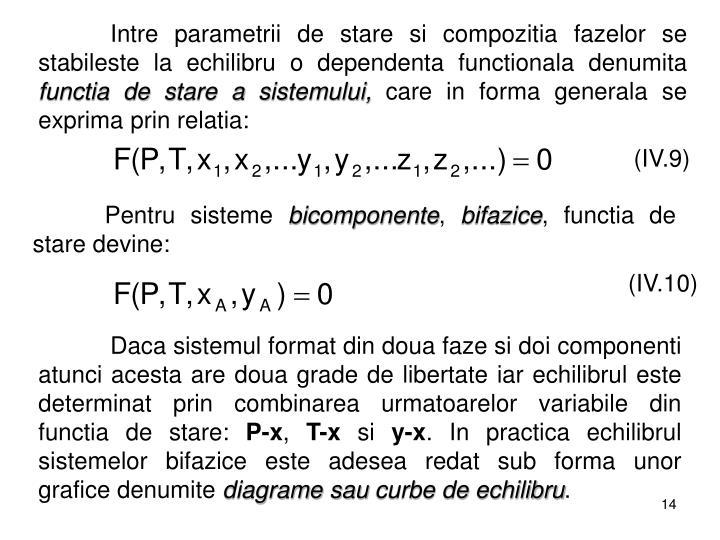Intre parametrii de stare si compozitia fazelor se stabileste la echilibru o dependenta functionala denumita