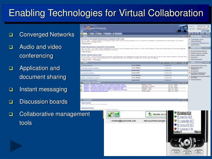 Enabling Technologies for Virtual Collaboration