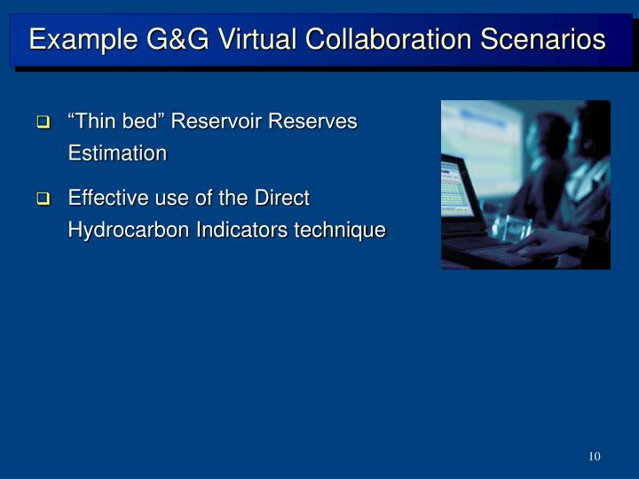 Example G&G Virtual Collaboration Scenarios