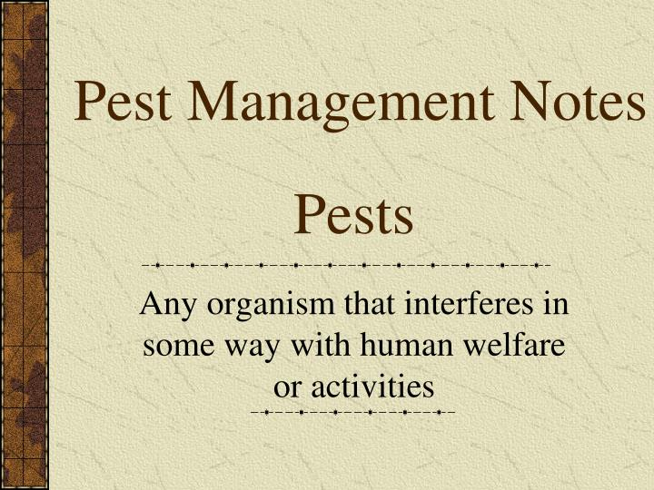 Pest Management Notes