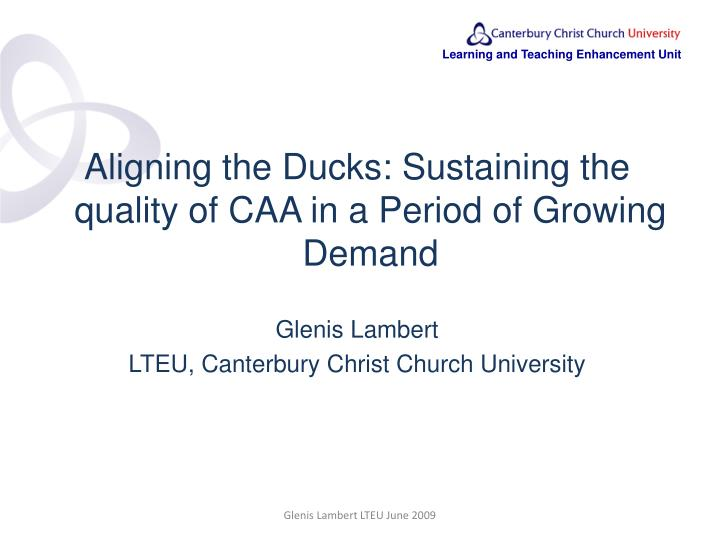 Aligning the Ducks: Sustaining the quality of CAA in a Period of Growing Demand